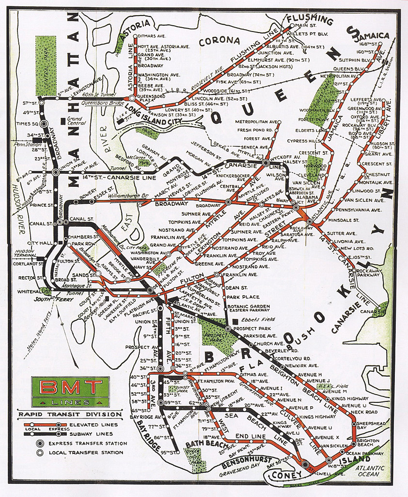 Bmt Subway Map.Bmt Subway Map 1937 Cluster 8 Flickr