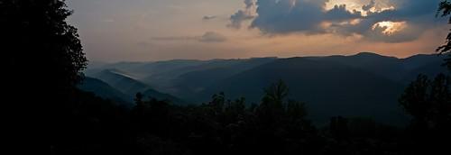 sunset panorama mountains fog tn pentaxk7