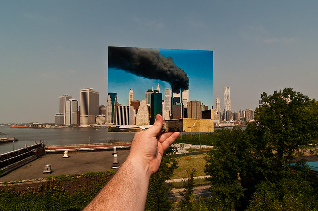 Looking Into the Past: World Trade Center Burning, September 11, 2001