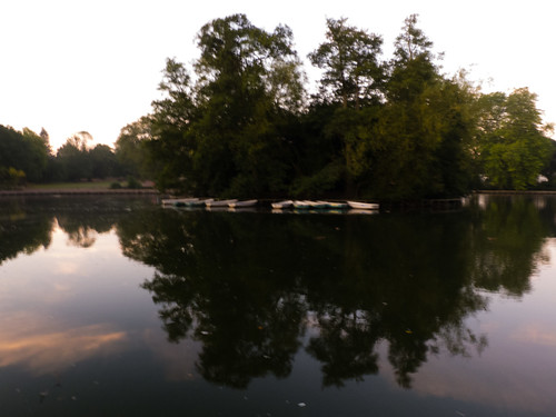 Dawn over West Park boating lake