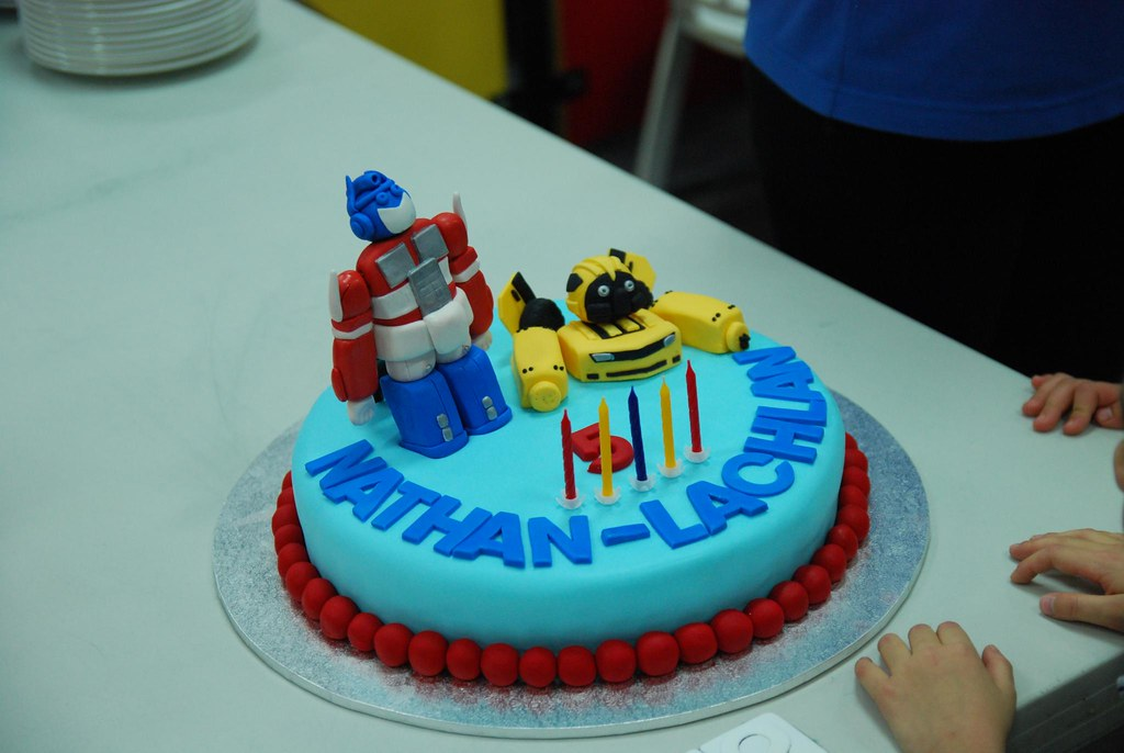 Sensational Optimus Prime Bumblebee Birthday Cake Alpha Flickr Personalised Birthday Cards Paralily Jamesorg