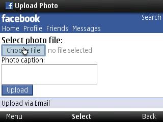 mobile facebook dialog | upload facebook photo via opera min