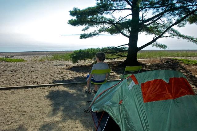 Our beachfront campsite
