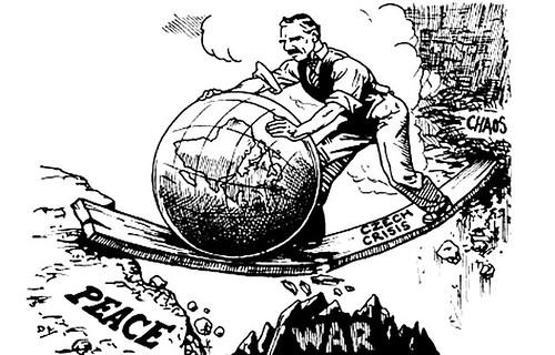 Chamberlain rolls the world towards peace cartoon   by Aren'tYouAlex-Spencer?
