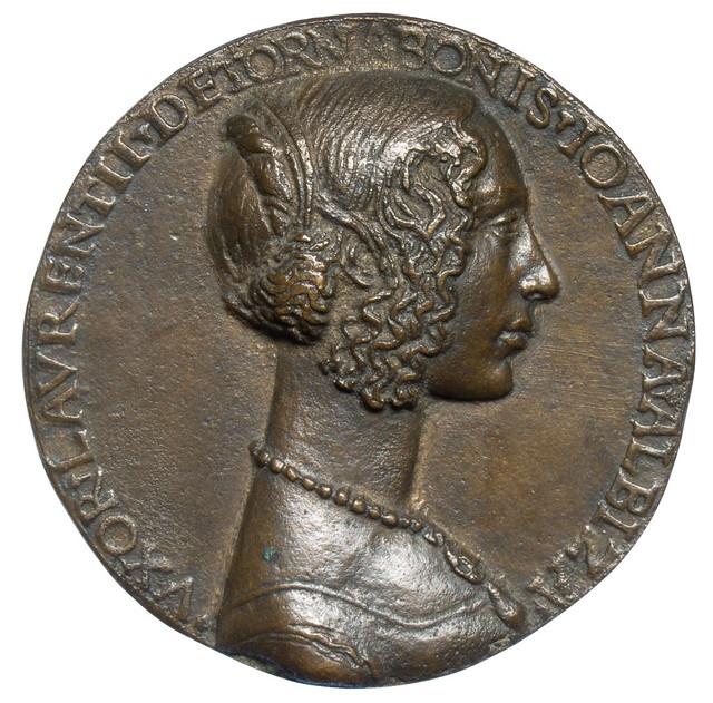 Niccolò Fiorentino - Medal 1 on Giovanna degli Albizzi Tornabuoni, recto  [1486]