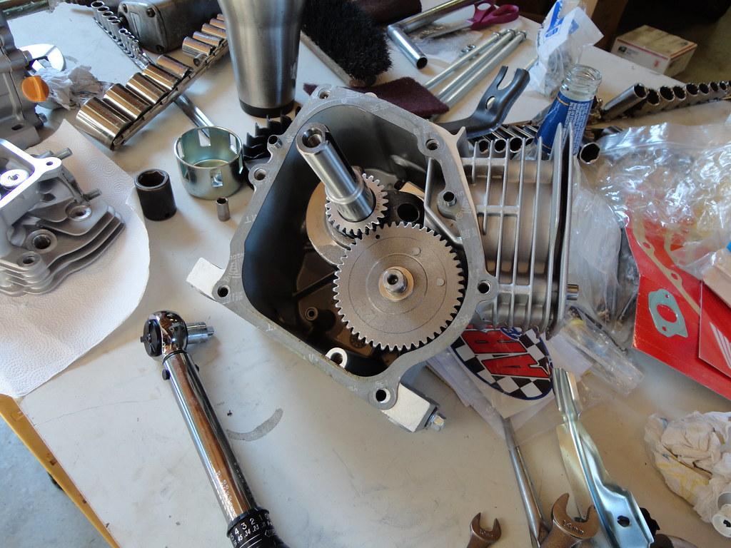 Honda Clone Engine Build | This shot shows the crank reinsta