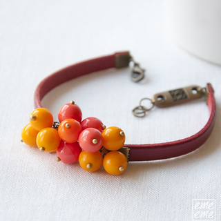 Bracelet -  Red leather with orange glass beads   by emeemeSpain
