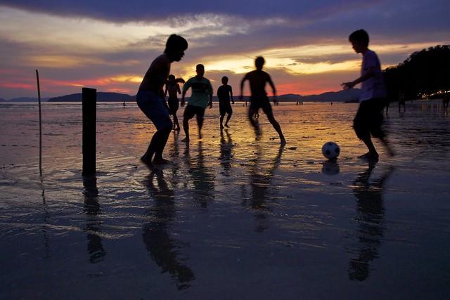 Low tide beach football...