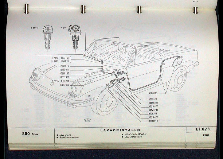 fiat 850 spider windshield washing system  850 electrical schematic