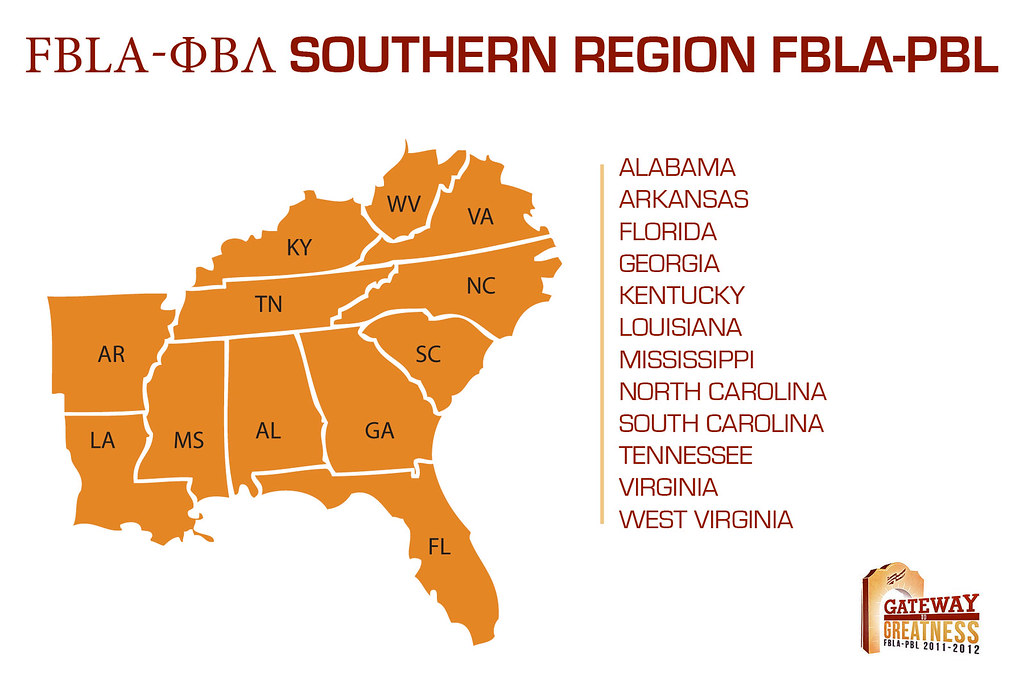 Southern Region Map for FBLA-PBL | Listing of all the states ...