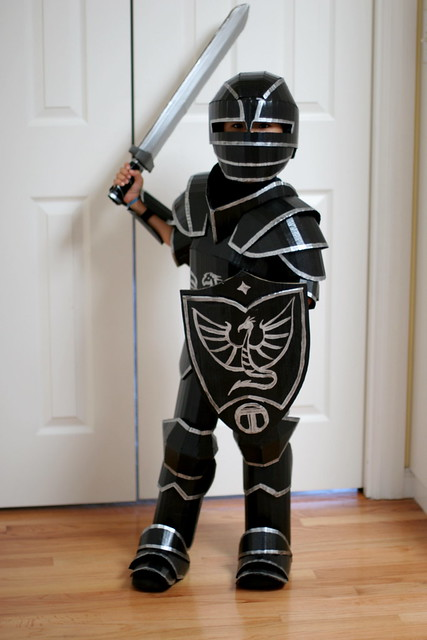 Artist Creates a Full Suit of Black Knight Armor Out of Cardboard