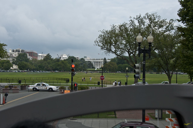 White House Eastern aspect - from open top bus, Washington DC