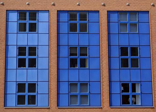 Nine blue windows