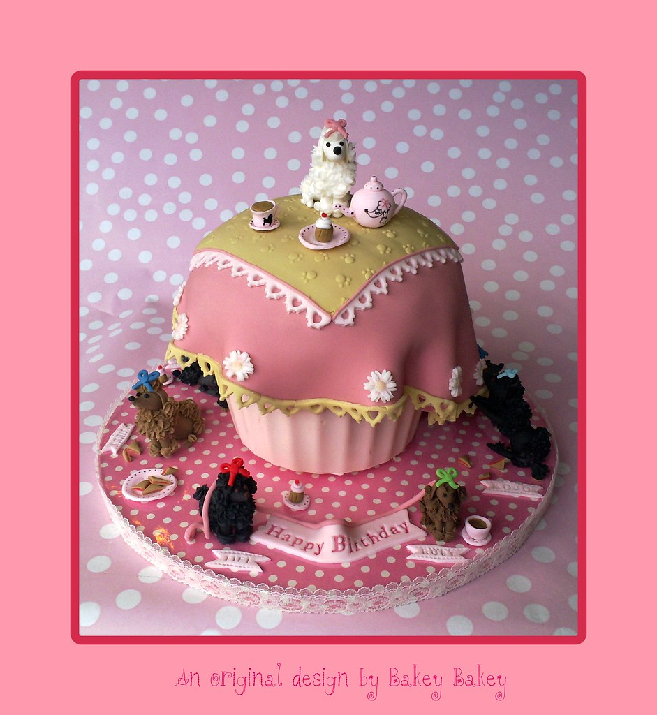 Awesome Poodle Teatime Birthday Cake Bakey Bakey Giant Cupcake Dre Flickr Funny Birthday Cards Online Aeocydamsfinfo
