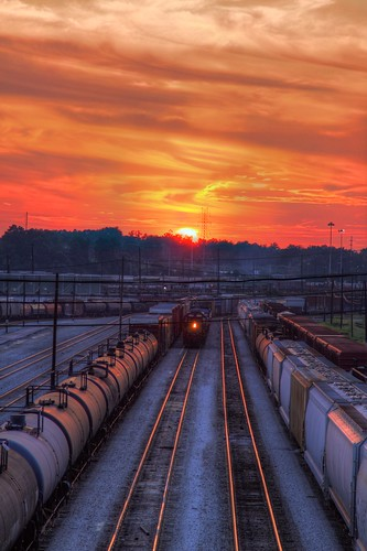 atlanta light sunset summer orange sun reflection tree cars lines clouds yard train canon ga georgia aj evening day power cloudy perspective tracks peek locomotive treeline hdr freight csx brustein tilford 50d