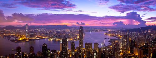 city sky sunrise landscape hongkong harbour magic peak magicmoment