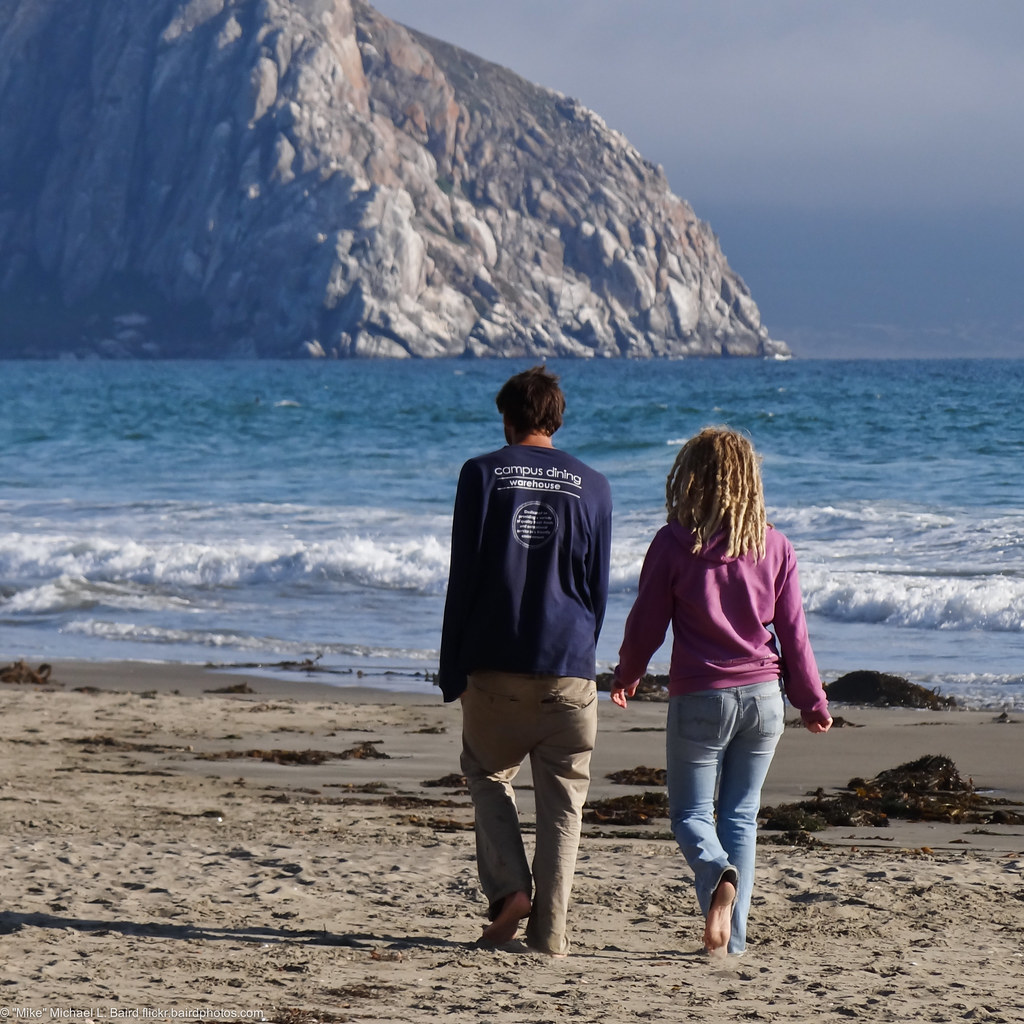 A Young Couple Walks Towards Morro Rock From North Morro S -2821