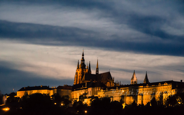 Prague Castle from River Boat