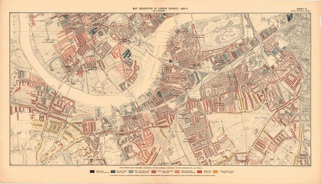 South West London Map.Printed Map Descriptive Of London Poverty 1898 1899 Sheet 10 South