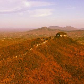 Pilot Mountain from the air. Pinnacle, NC.