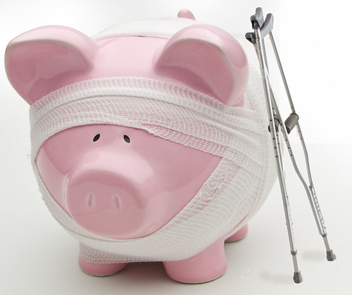 Injured Piggy Bank With Crutches | by kenteegardin
