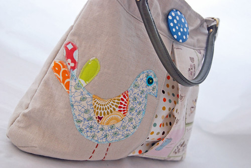 Very Pretty Applique Bird Bag With Pleats and Faux Leather Handles in Olive Green. YUM | by Grace Rigby Textiles