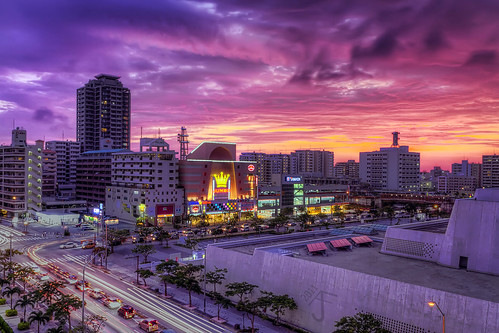 sunset red sky orange cars beautiful japan clouds canon buildings photography purple traffic sigma 7d okinawa hdr topaz adjust photomatix sigmalenses