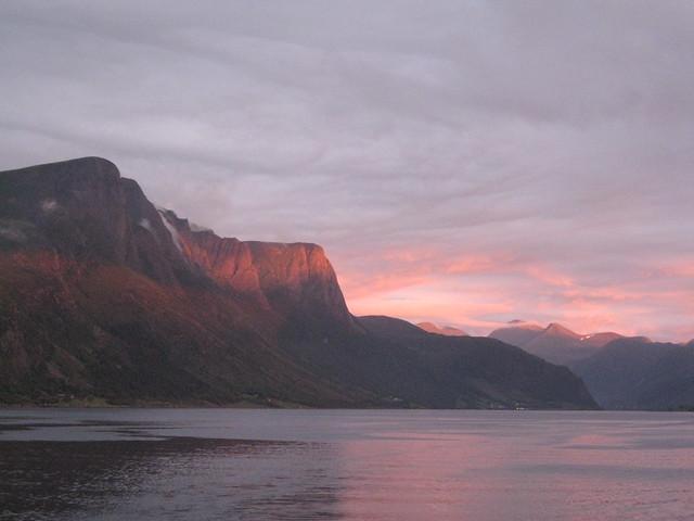 mountain on sunset