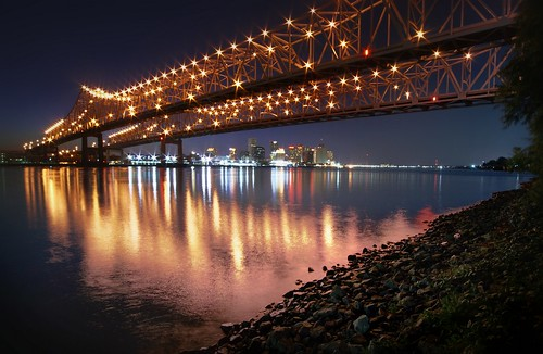 city longexposure nightphotography bridge water skyline night river landscape louisiana nightshot westbank neworleans bridges mississippiriver bluehour 12mm crescentcity bigeasy twinbridges crescentcityconnection canonefs1022mmf3545usm mrgreenjeans gaylon gaylonkeeling