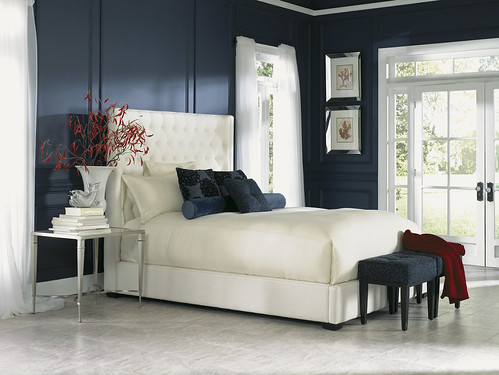 Pearl White Upholstered Bed