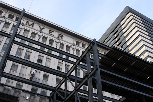 Facade of Myer's old Lonsdale Street store propped up for renovations