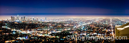 Panorama of Los Angeles at night from Griffith observatory | by wingtangwong