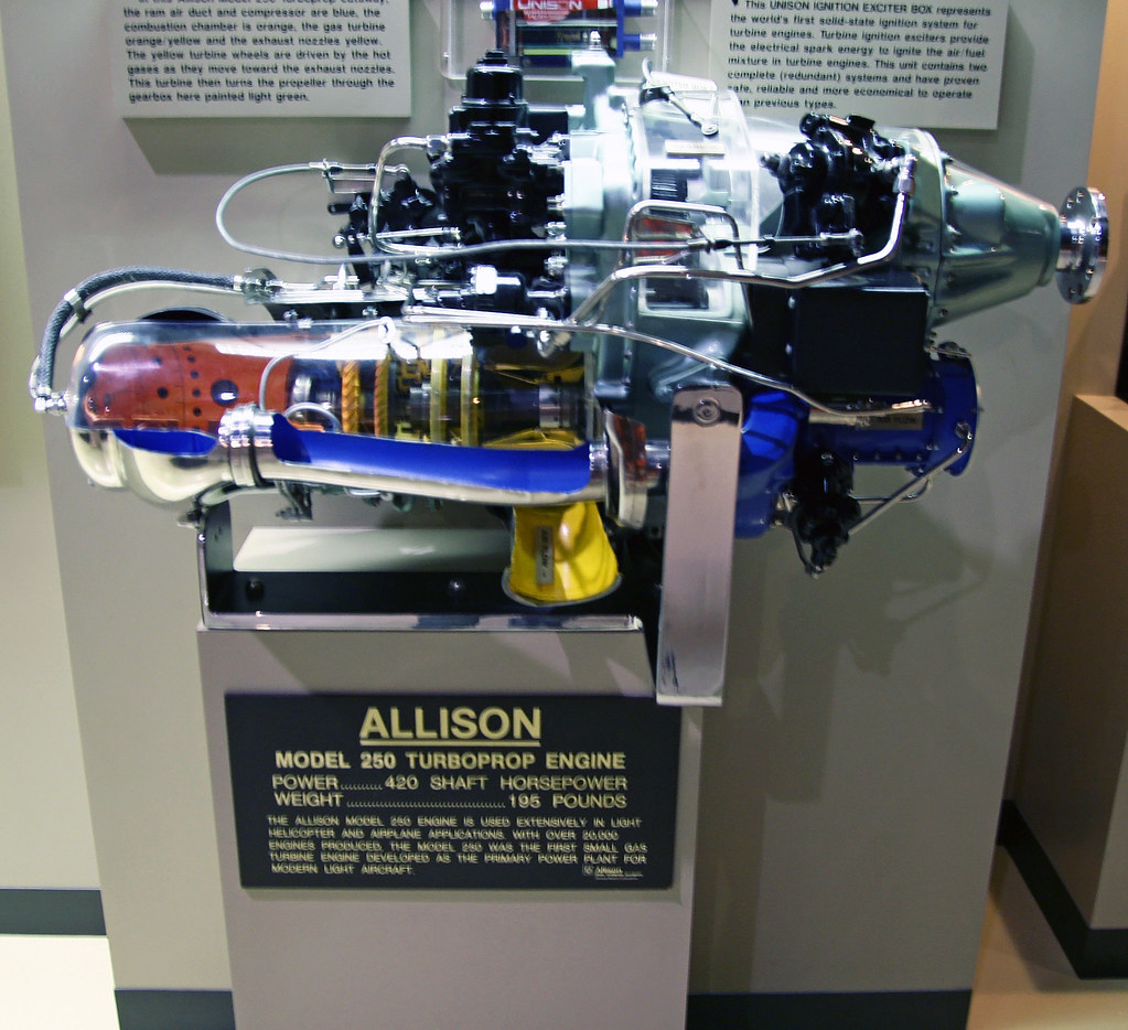 Allison Model 250 Turboprop (Cutaway) | Weighing only 195 po