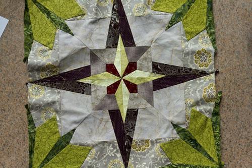 Star-leaf quilt block complete