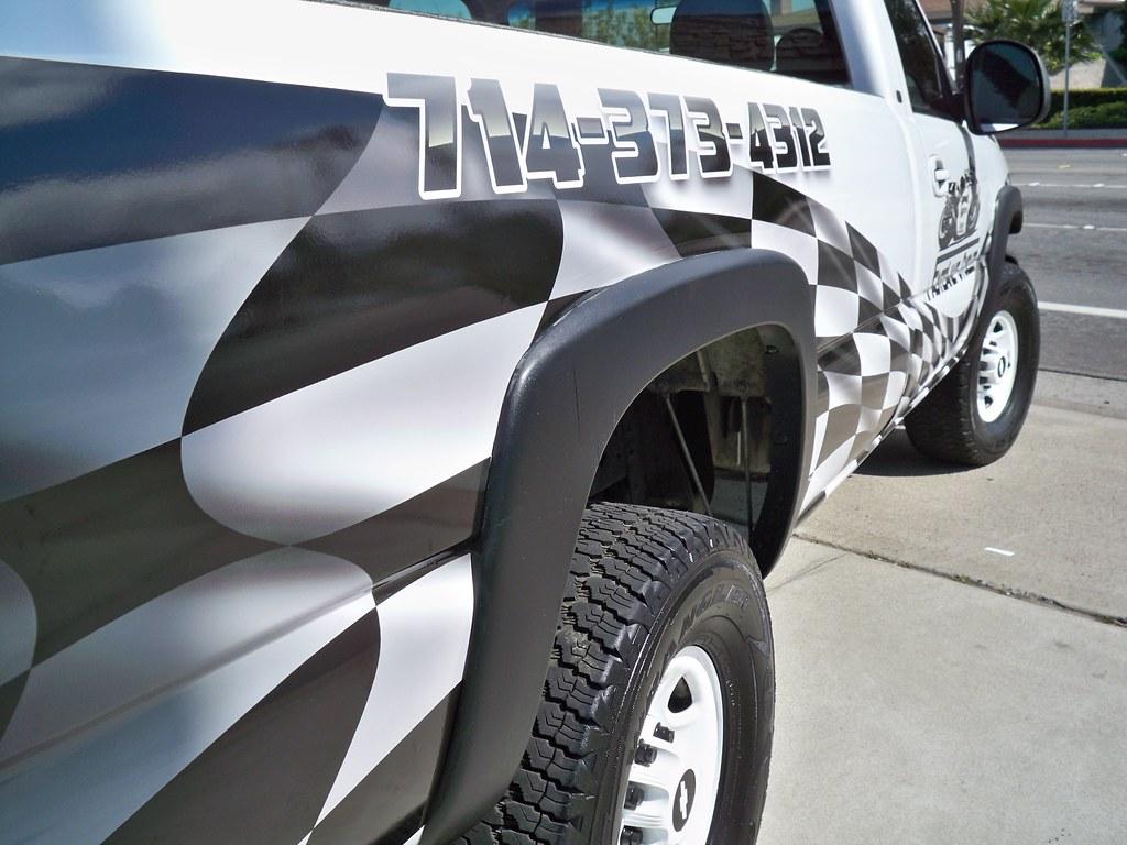 Chevy Silverado Checkered Flag Truck Wrap Passenger Side