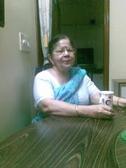Jyoti at home enjoying her morning tea  (India)