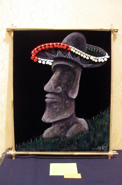 South of the Border Moai on Black Velvet