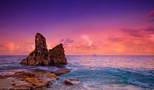 ocean blue seascape landscape saintmartin rocks purple magenta sxm sintmaarten cupecoy carnivalcruiselines cupecoybeach