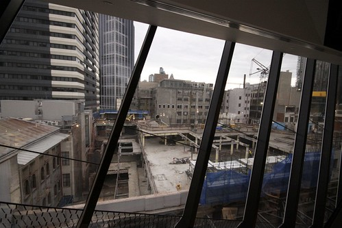 Looking out from Myer's Bourke Street store to the old Lonsdale Street store being gutted