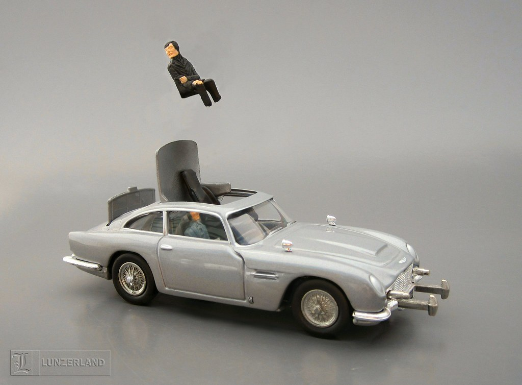 Replica of James Bond after using the ejector seat