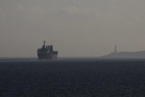 Cargo ship departs Port Phillip via The Rip