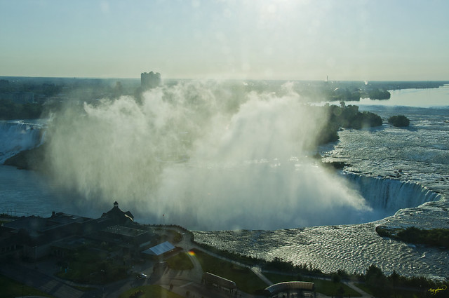Sunrise over Niagara Falls -view from Marriot hotel window - close up