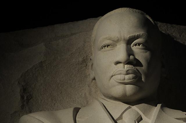 Martin Luther King Jr Memorial at night