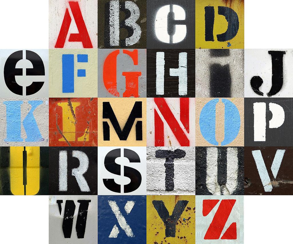 a stencilled alphabet