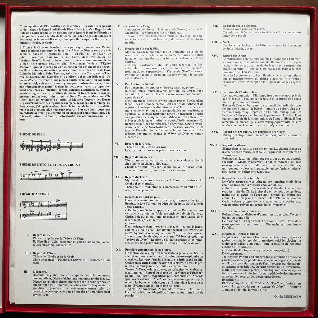 Booklet Inside Messiaen Vingt Regards Sur Lenfant Jesus
