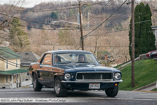 1967 Ford Mustang driver turns from Mill to College Street in Athens Ohio