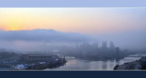 city morning ohio mist misty fog skyline sunrise river dawn three pittsburgh pennsylvania stadium foggy bridges explore pa rivers mon heinz allegheny daybreak monongahela explored