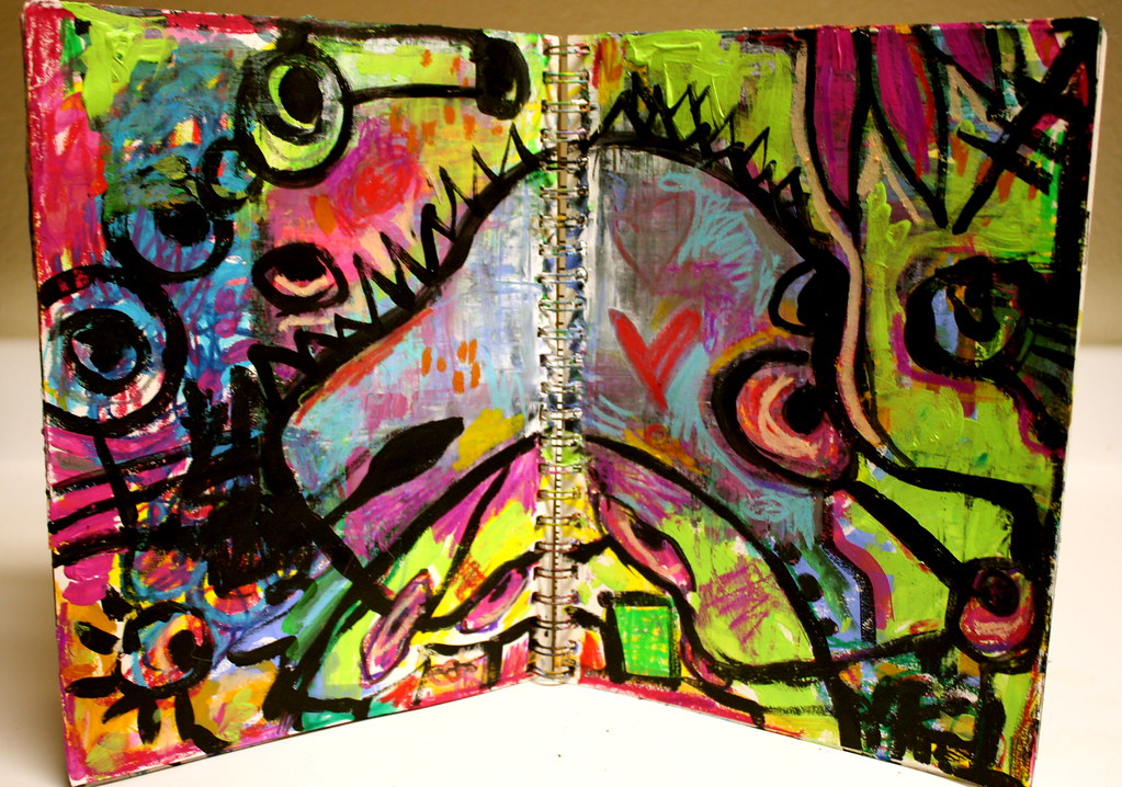 Let N Loose Acrylic And Oil Pastel In Art Journal