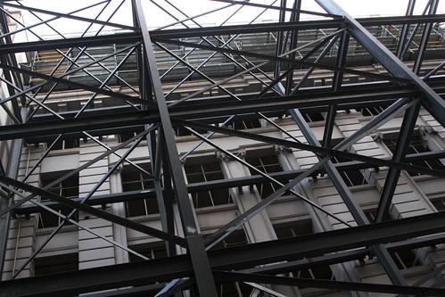Scaffolding towers over Little Bourke Street, Melbourne