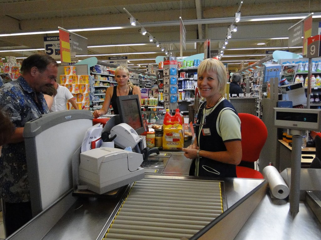 Cashier Supermarket   A French Supermarket - Saturday mornin